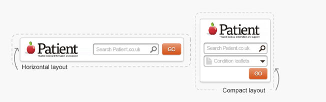 Patient search is available in varying sizes suited to your website layout